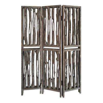 Wrightwood 6 ft. Brown 3-Panel Room Divider