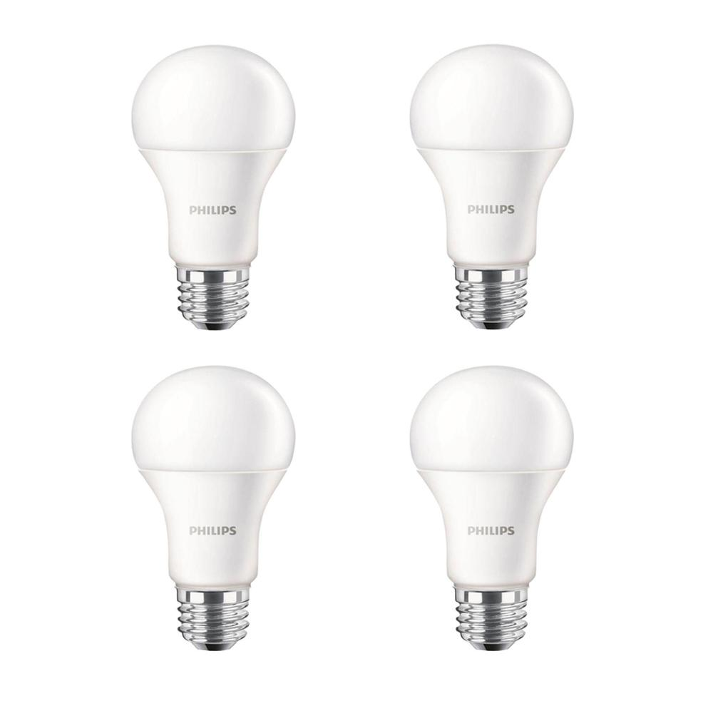 100 Watt Equivalent A19 Non Dimmable Energy Saving Led Light Bulb Daylight 5000k 4 Pack