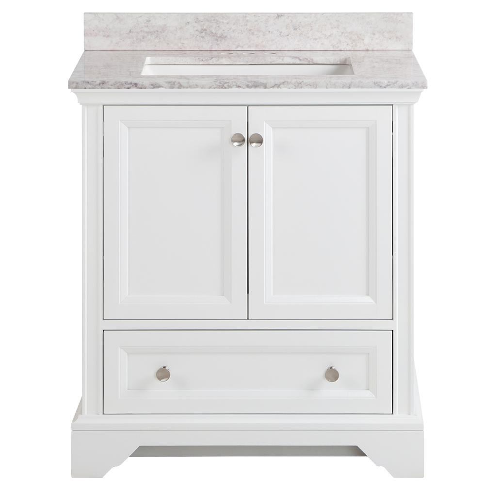 Home Decorators Collection Stratfield 31 in. W x 22 in. D Bathroom Vanity in White with Stone Effect Vanity Top in Winter Mist with White Sink