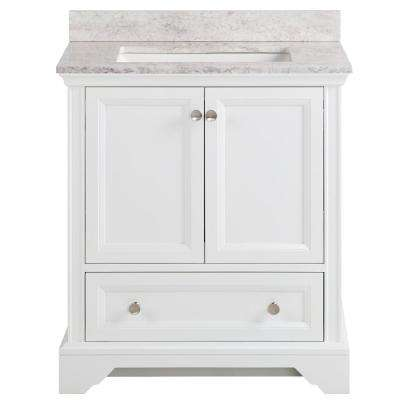 Stratfield 31 in. W x 22 in. D Bathroom Vanity in White with Stone Effect Vanity Top in Winter Mist with White Sink