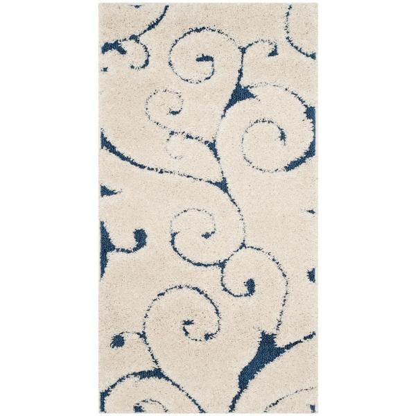 Florida Shag Cream/Blue 2 ft. x 4 ft. Area Rug