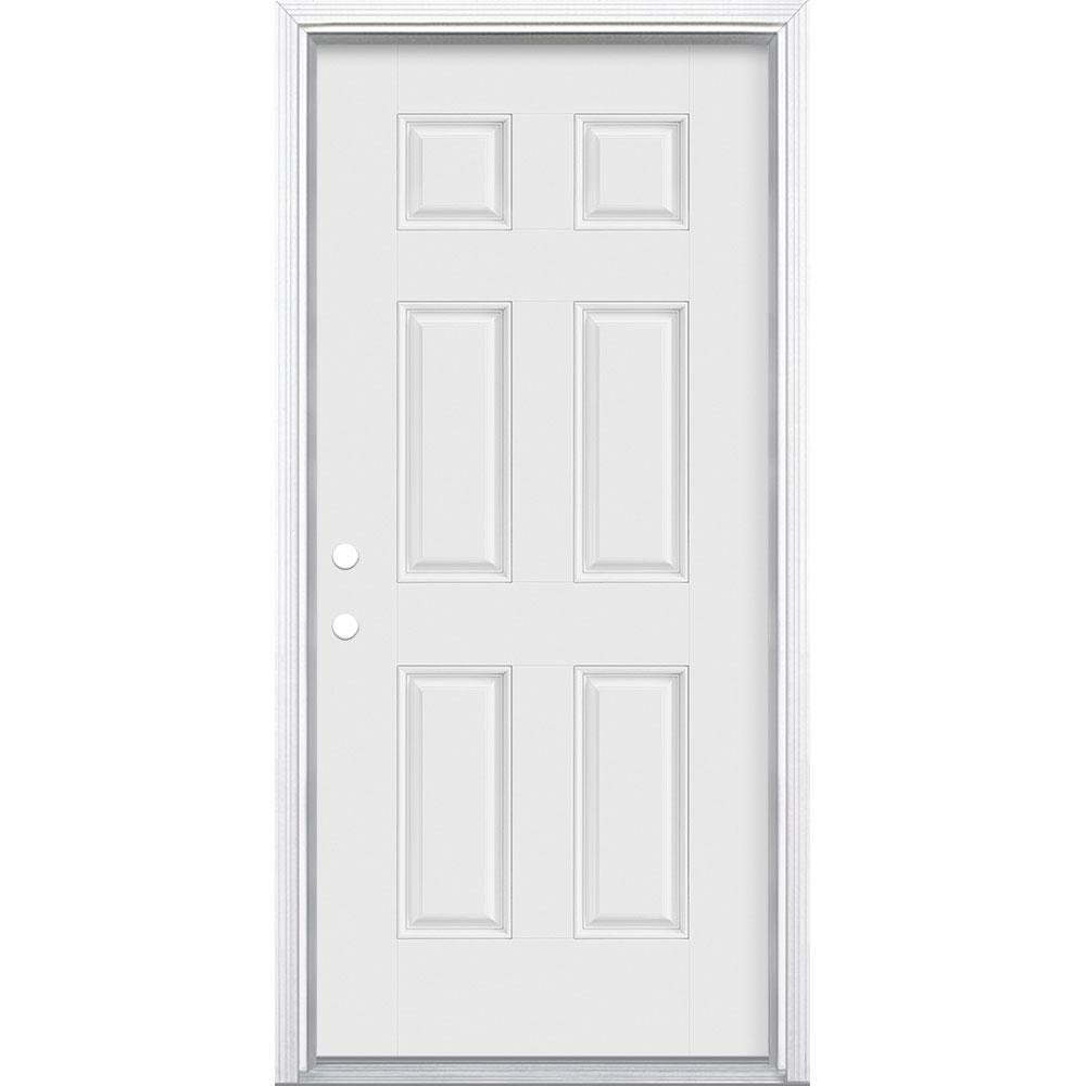 Masonite 36 in. x 80 in. 6-Panel Right-Hand Inswing Primed White Smooth Fiberglass Prehung Front Exterior Door with Brickmold