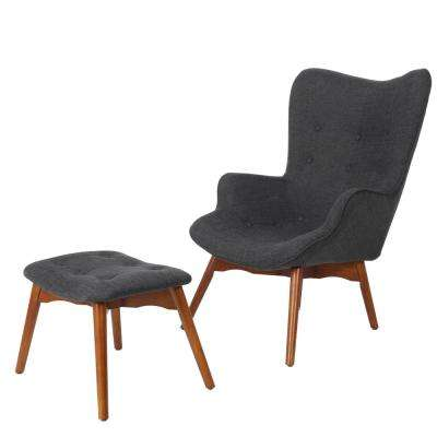 Hariata Muted Dark Grey Fabric Contour Chair and Ottoman Set