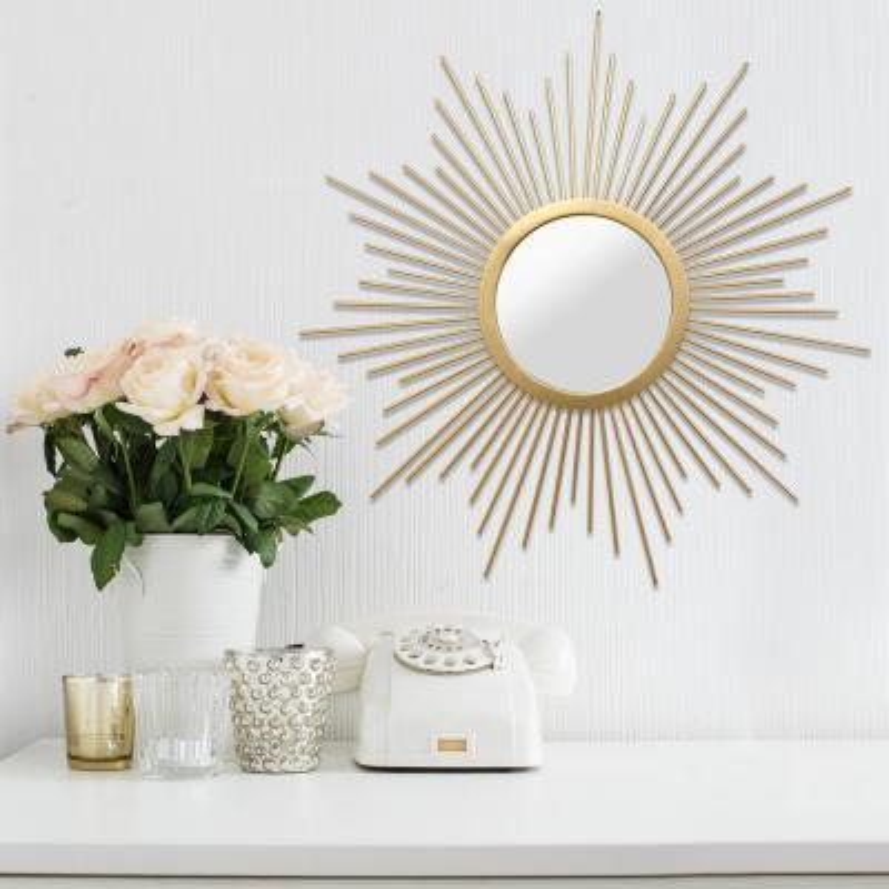 Stratton Home Decor Medium Round Gold Contemporary Mirror 31 5 In H X 29 53 In W S11541 The Home Depot