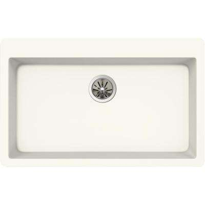 Quartz Luxe Drop-In Composite 33 in. Single Bowl Kitchen Sink in Ricotta