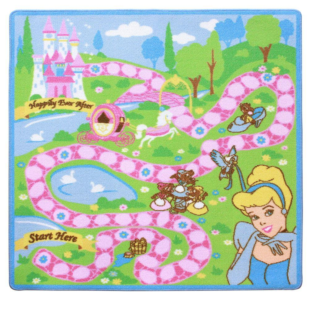 G.A. Gertmenian & Sons Princess Cinderella Adventure 3 ft. 4 in. x 3 ft. 4 in. Activity Rug Set-DISCONTINUED