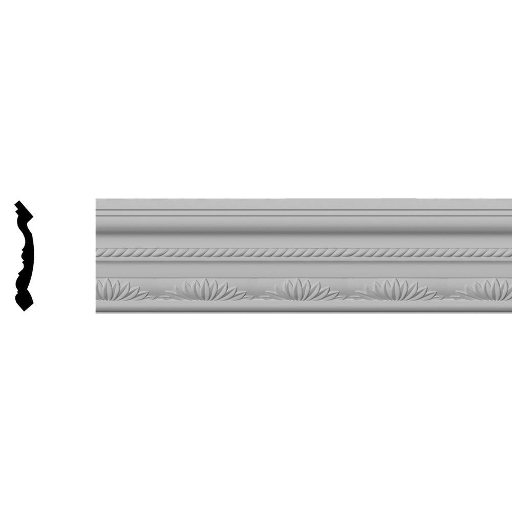 Ekena Millwork 4-1/8 in. x 3-7/8 in. x 94-1/2 in. Polyurethane Chesterfield Running Rope Crown Moulding