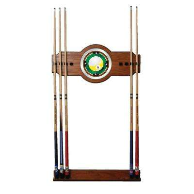 Nine Ball 30 in. Wooden Billiard Cue Rack with Mirror