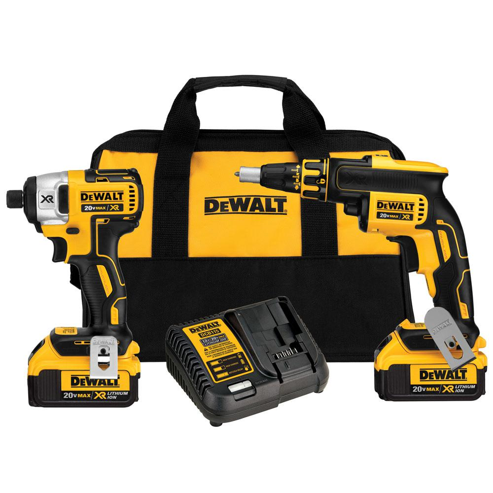 (The DEWALT DCKP2 2-Tool combo kit is ideal for most drilling and driving applications. Both tools are designed to be compact for use in tight spaces. front-to-back length) and lightweight ( lb.