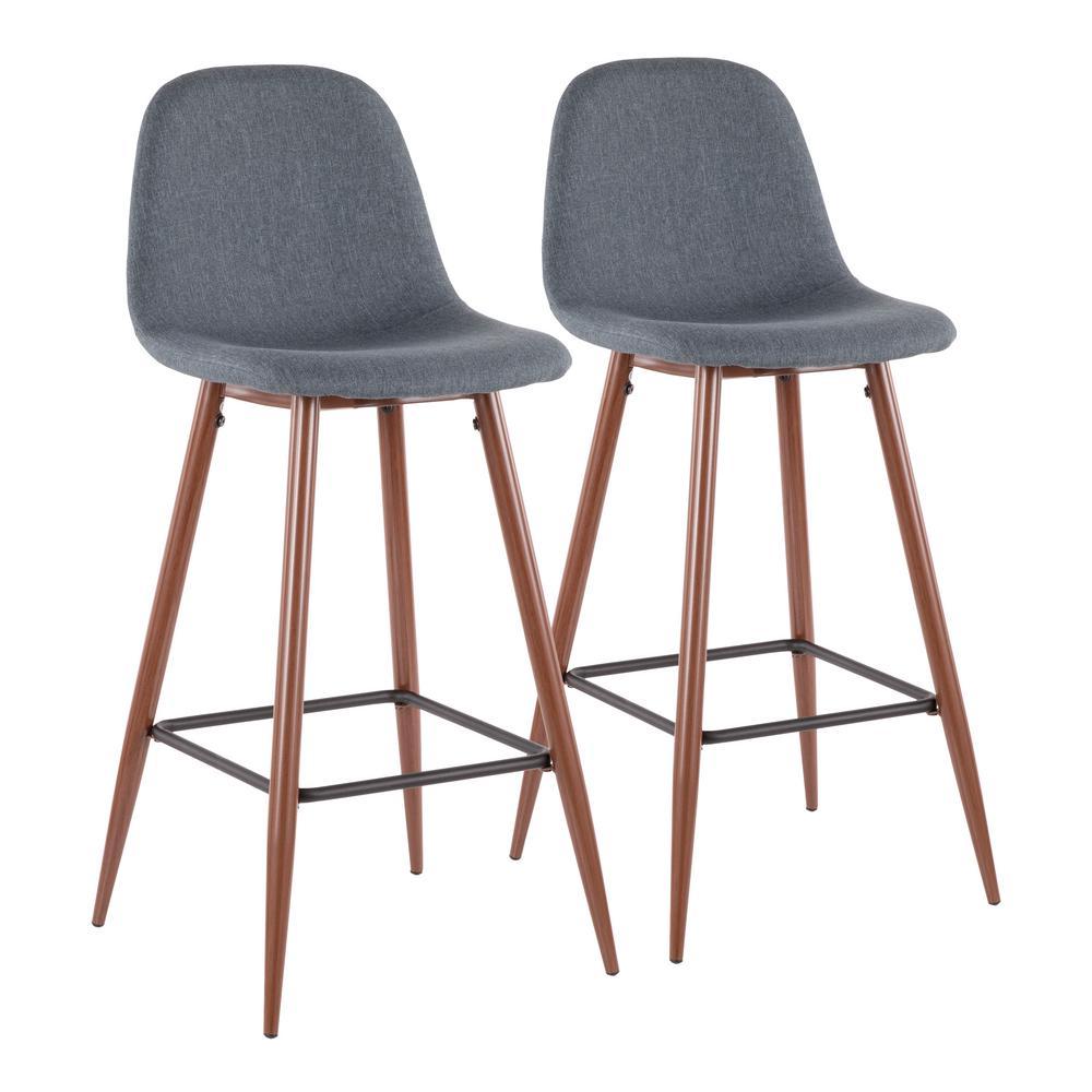 Lumisource Pebble 29 In Walnut Metal And Blue Fabric Barstool Set