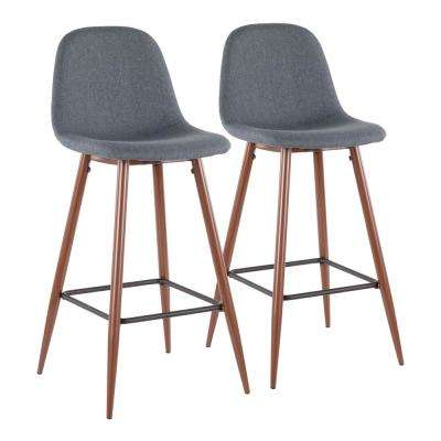 Pebble 29 in. Walnut Metal and Blue Fabric Barstool (Set of 2)