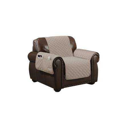 Wallace Water Resistant Taupe Fit Polyester Fit Chair Slip Cover