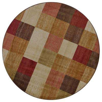 Lifestyles Beige Squares 8 ft. x. 8 ft. Round Area Rug