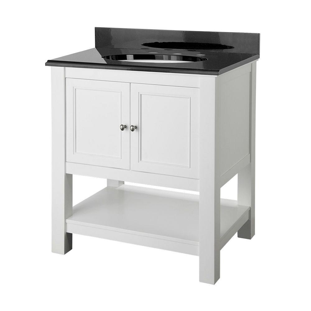 white bathroom vanity with black top foremost gazette 30 in vanity in white with granite 25880