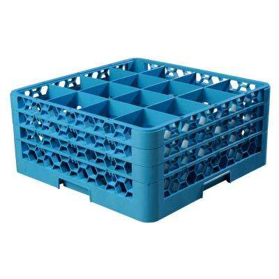 19.75x19.75 in. 16-Compartment 3 Extender Glass Rack (for Glass 4.19 in. Diameter, 7.94 in. H) in Blue, (Case of 2)