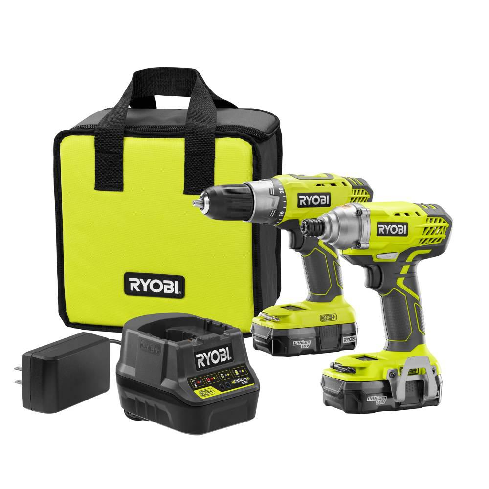 ryobi 18-volt one+ lithium-ion cordless drill/driver and impact