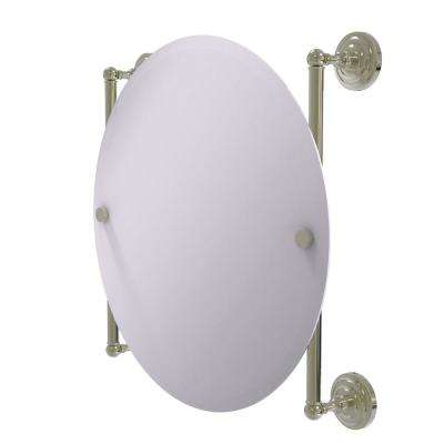 Que New Collection Round Frameless Rail Mounted Mirror in Polished Nickel