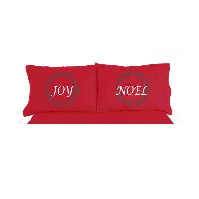 Joy Noel Christmas Novelty Print Pillowcase Pair