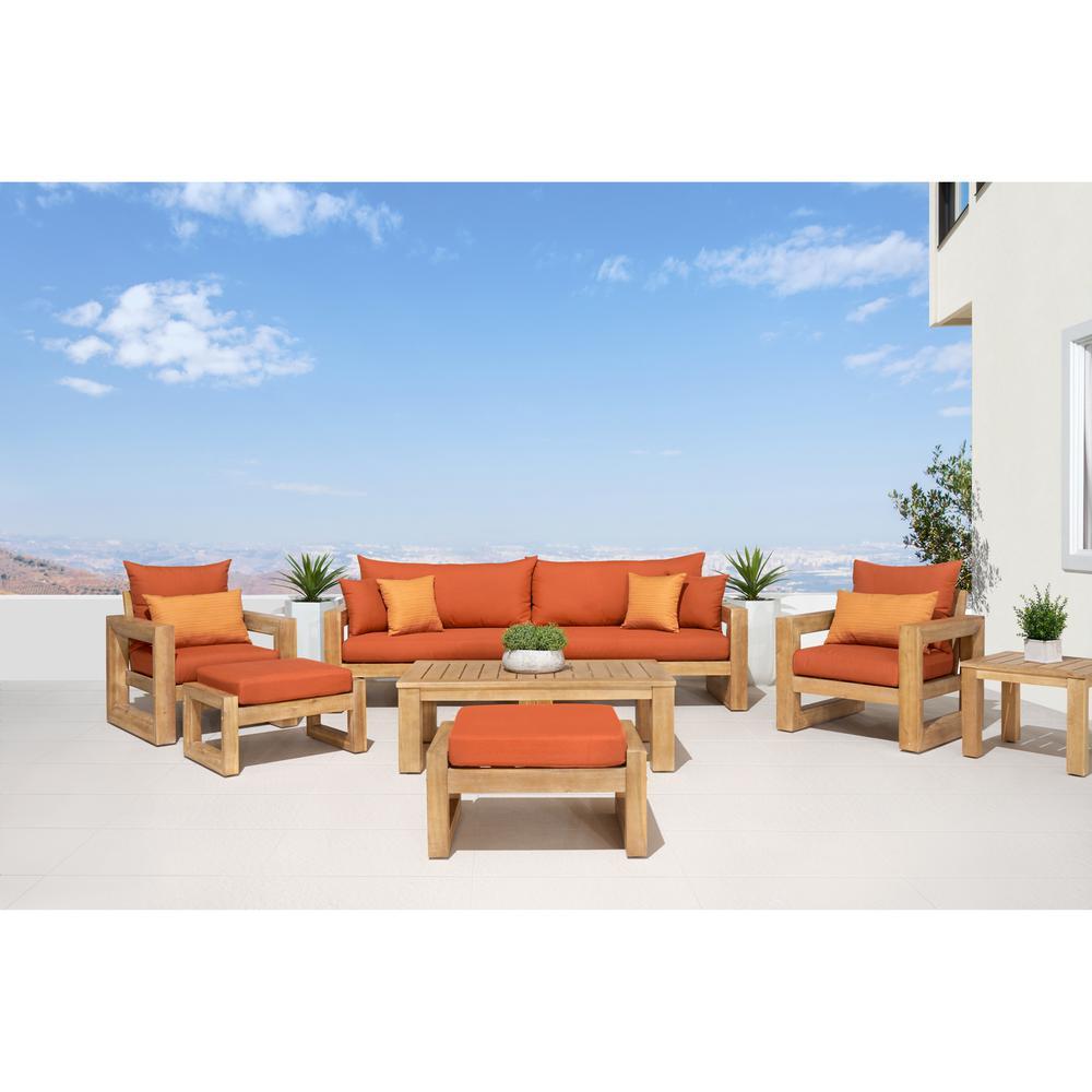 Benson 8-Piece Wood Patio Conversation Set with Sunbrella Tikka Orange Cushions