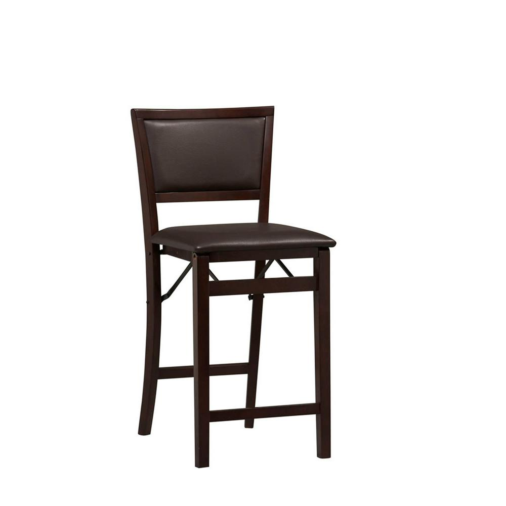 Pleasant Linon Home Decor Triena 24 In Espresso Pad Back Folding Gmtry Best Dining Table And Chair Ideas Images Gmtryco