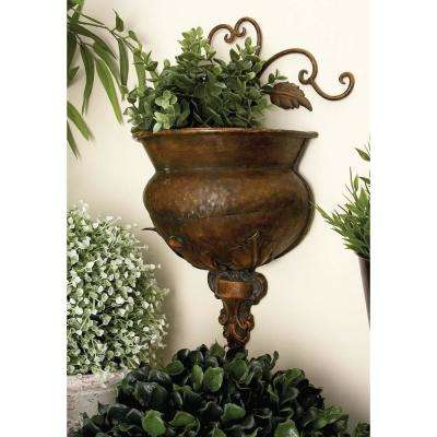 11 in. New Traditional Bronze-Finished Metal Wall Planter