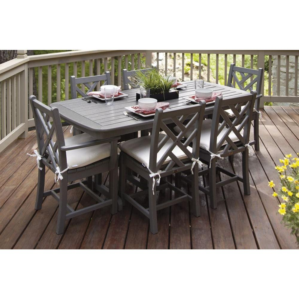 grey outdoor dining set round patio table polywood chippendale slate grey 7piece plastic outdoor patio dining set with sunbrella birds eye