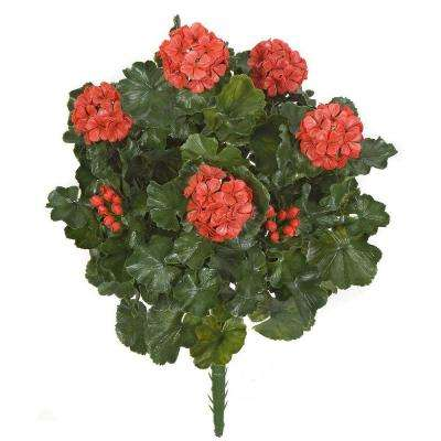 26 In. Artificial Fade Resistant Plastic Outdoor Geranium Bush, Red