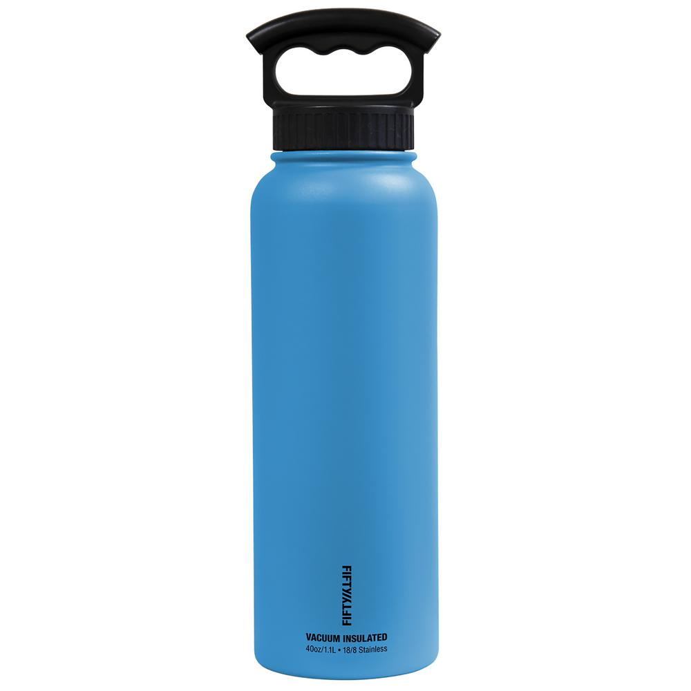 40 oz. Vacuum-Insulated Bottle with Wide-Mouth 3-Finger Handle Lid in Crater