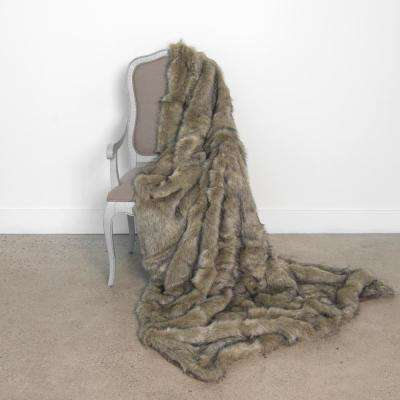 Wild Mannered 58 in. x 84 in. Tawny Fox Faux Fur Throw