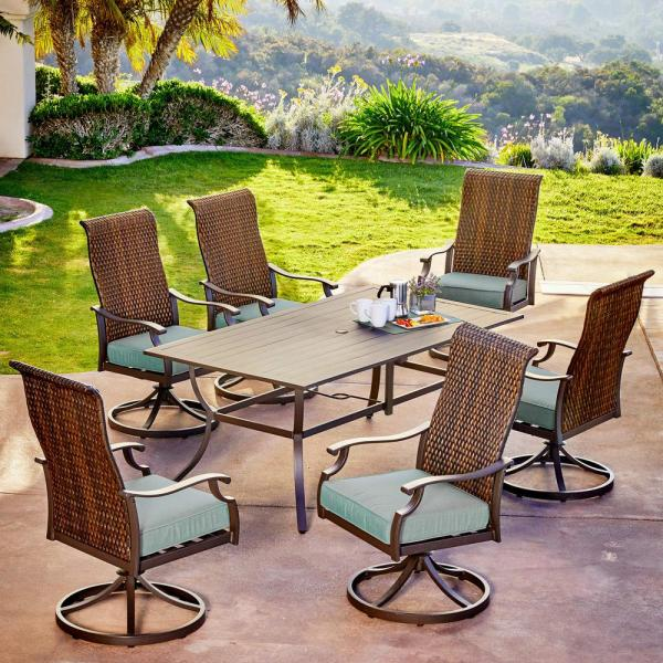 Rhone Valley 7-Piece Wicker Motion Outdoor Dining Set with Teal Cushions