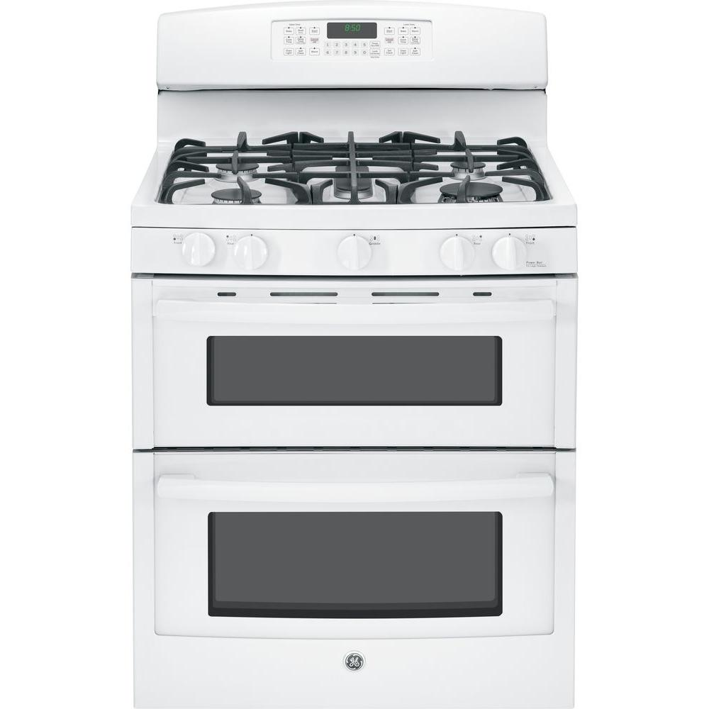 GE 6.8 cu. ft. Double Oven Gas Range with Self-Cleaning Oven in White