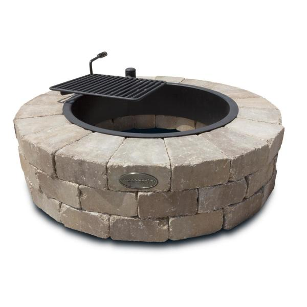 Grand 48 in. Fire Pit Kit in Santa Fe with Cooking Grate
