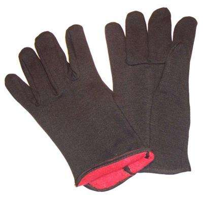 Brown Jersey Gloves with Red Fleece Lined Large Winter Gloves - Dozen