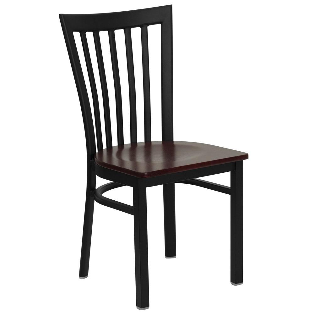 Hercules Series Black School House Back Metal Restaurant Chair with Mahogany Wood Seat
