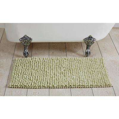 Chenille Rocks Sage 24 in. x 36 in. Bath Rug