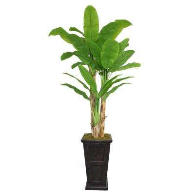 91 in. Tall Banana Tree with Real Touch Leaves in 16 in. Fiberstone Planter