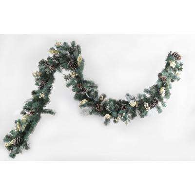 9 ft. Pine Garland with White Berries and Pine Cones