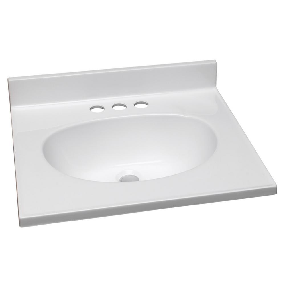 19 in. Cultured Marble Vanity Top in Solid White with Basin