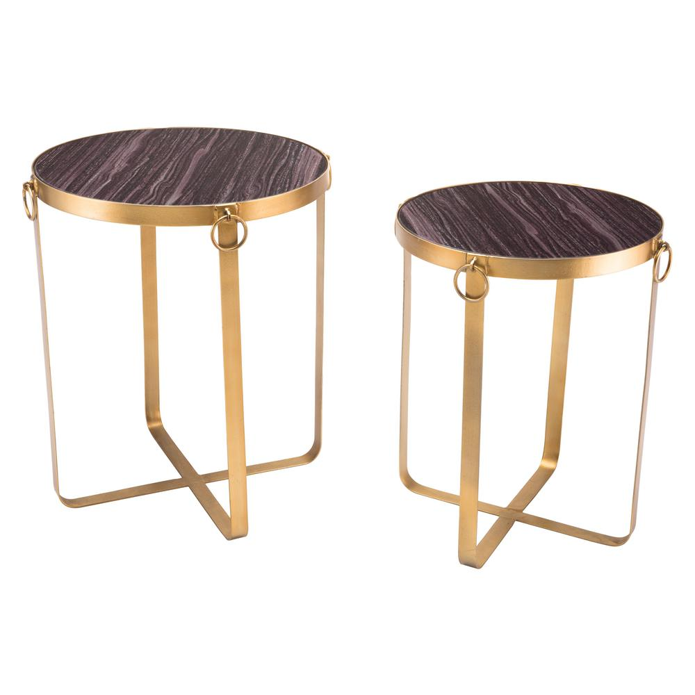 ZUO Onix Purple And Antique Gold Tables (Set Of 2)
