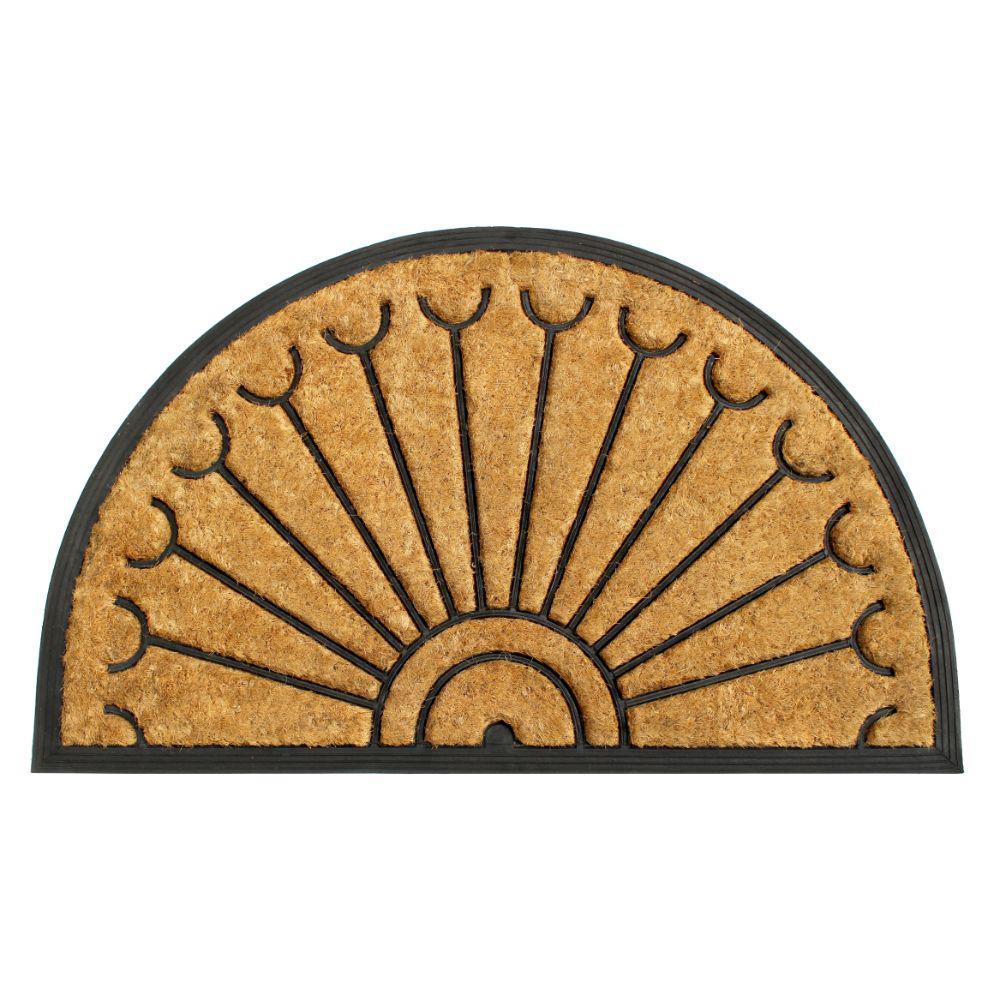 Natural 18 in. x 30 in. Rubber Coir Half-Round Doormat