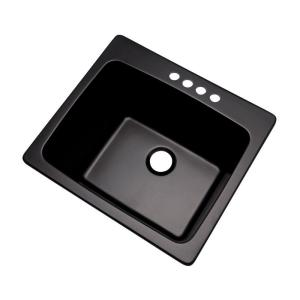 Mont Blanc Wakefield Drop-In Natural Stone Composite 25 inch 4-Hole Single Bowl Utility Sink in Black by Mont Blanc