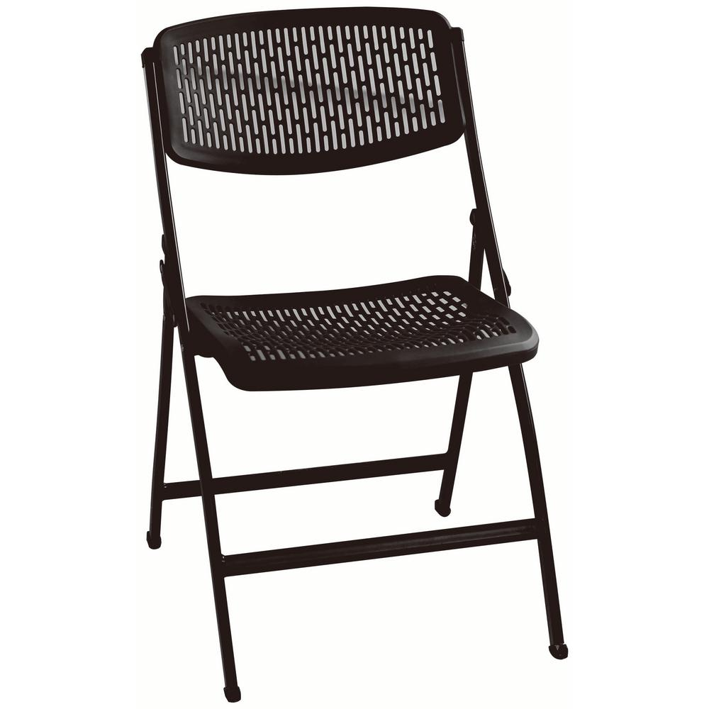 Muscle Rack Black Plastic Seat Outdoor Safe Folding Chair Fpmc Blk