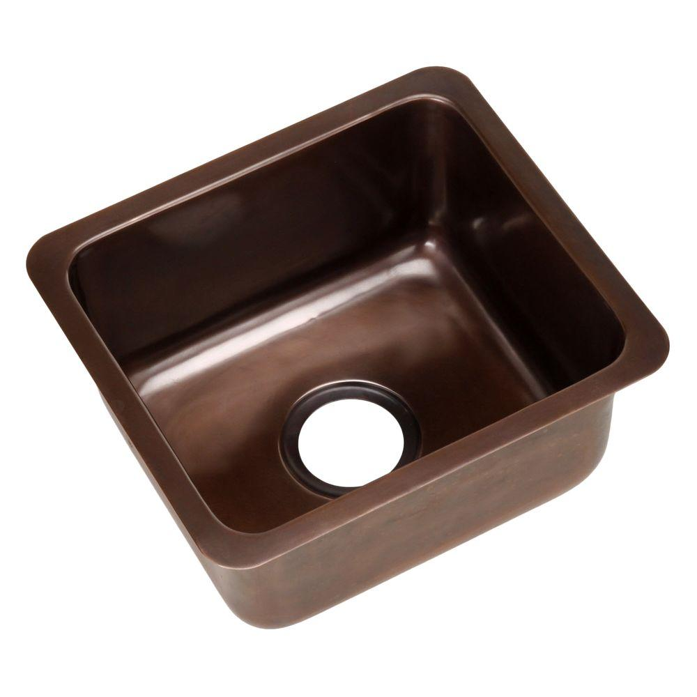 ECOSINKS Dual Mount Smooth Antique Solid Copper 17x15x8 1-Hole Bar/Prep Sink-DISCONTINUED