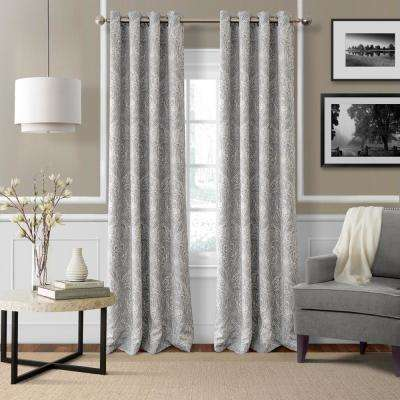 Blackout Julianne Gray Blackout Window Curtain Panel - 52 in. W x 84 in. L
