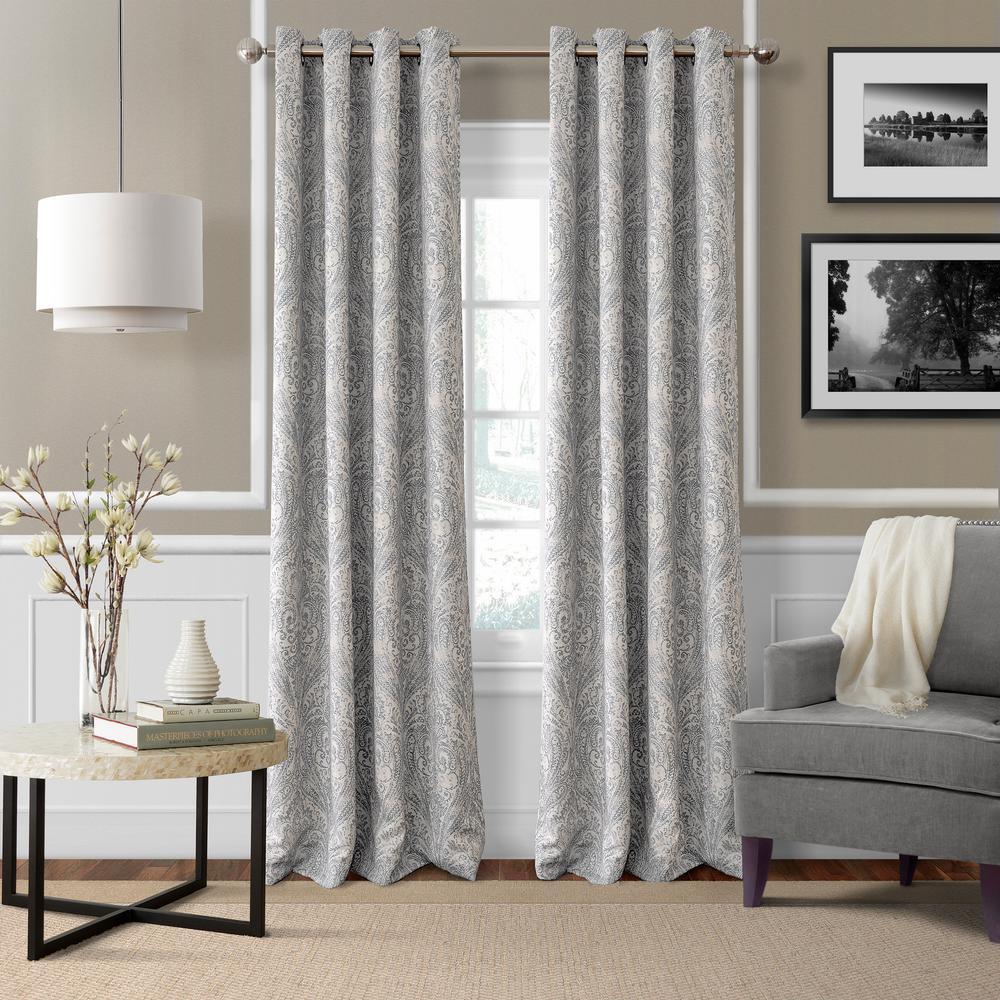 Blackout Julianne Gray Blackout Window Curtain Panel - 52 in. W x 95 in. L