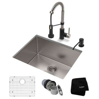 All-in-One Undermount Stainless Steel 23 in. Single Bowl Kitchen Sink with Faucet in Stainless Steel Matte Black