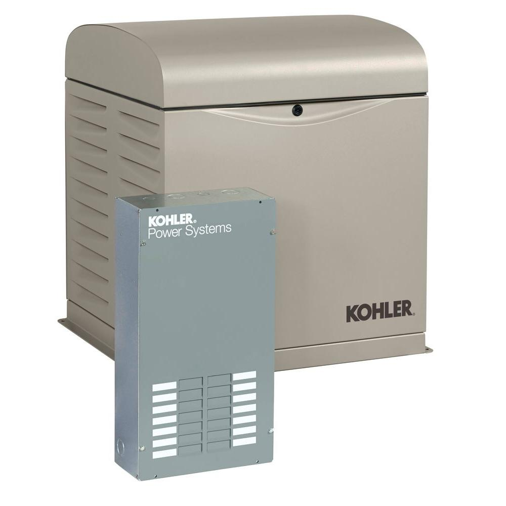 KOHLER 8,000-Watt Air Cooled Standby Generator with 100 Amp 12-Circuit Load  Center
