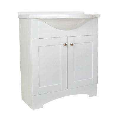 Del Mar 31 in. W x 36 in. H x 19 in. D Bathroom Vanity in White with Cultured Marble White Vanity Top