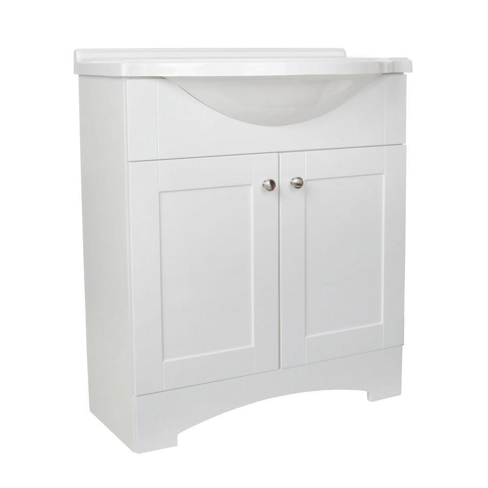 Del Mar 30 in. W x 19 in. D Bath Vanity in White with AB Engineered Composite Vanity Top