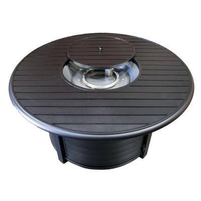 22 in. Cast Aluminum Round Slatted Fire Pit